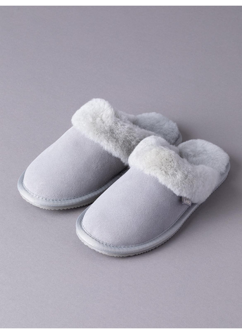 Ladies' Sheepskin Slider Slippers in Light Grey