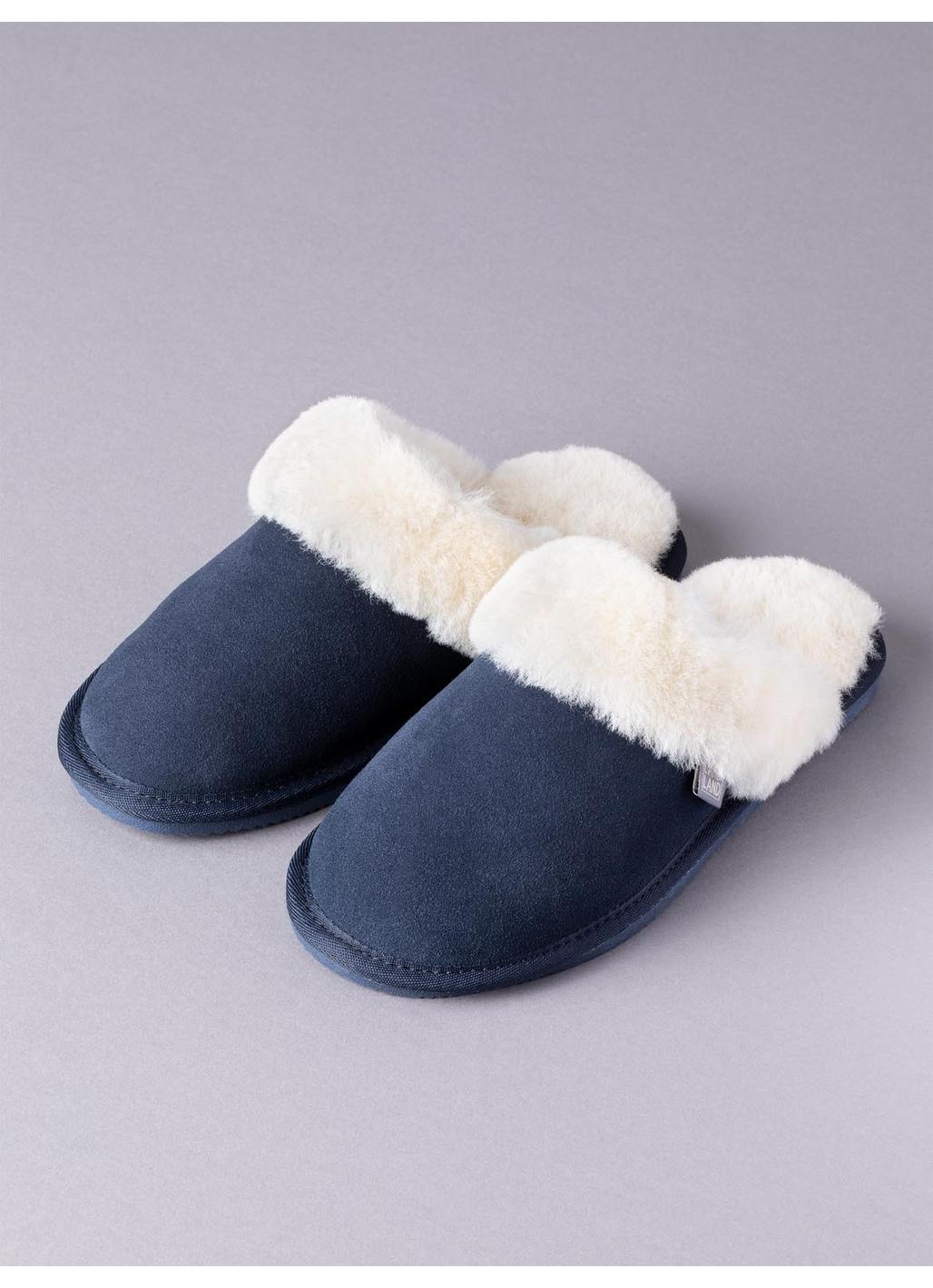 Ladies' Sheepskin Slider Slippers in Navy
