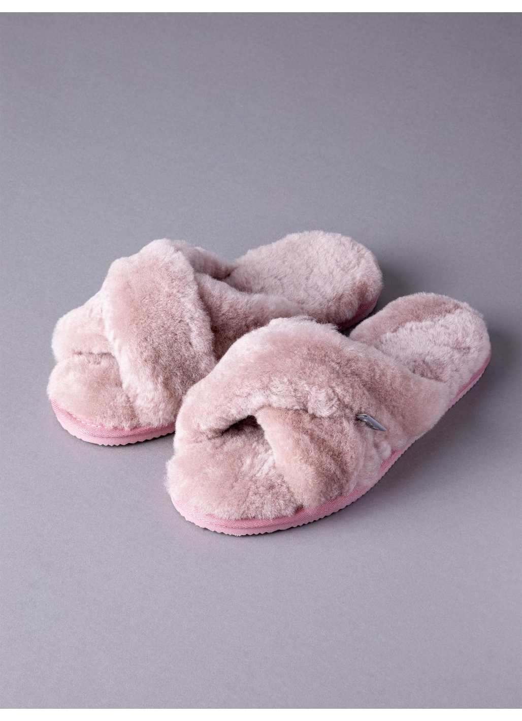 Ladies' Sheepskin Cross-Over Mules in Pink
