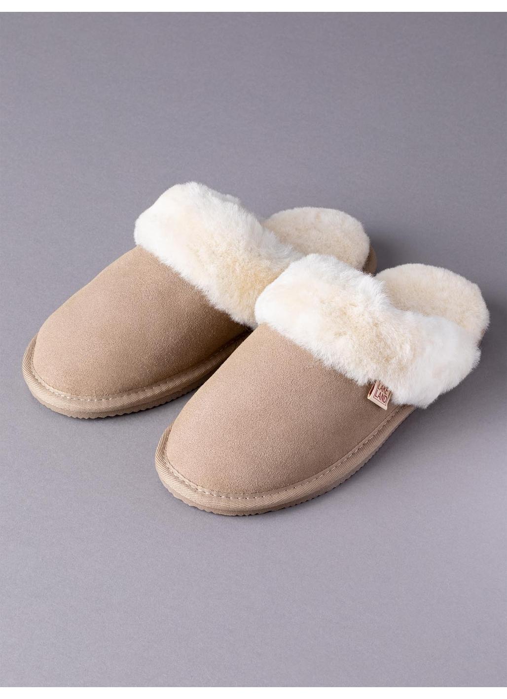 Ladies' Sheepskin Slider Slippers in Stone