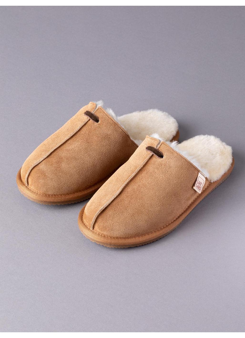 Ladies' Sheepskin Seam Sliders in Tan
