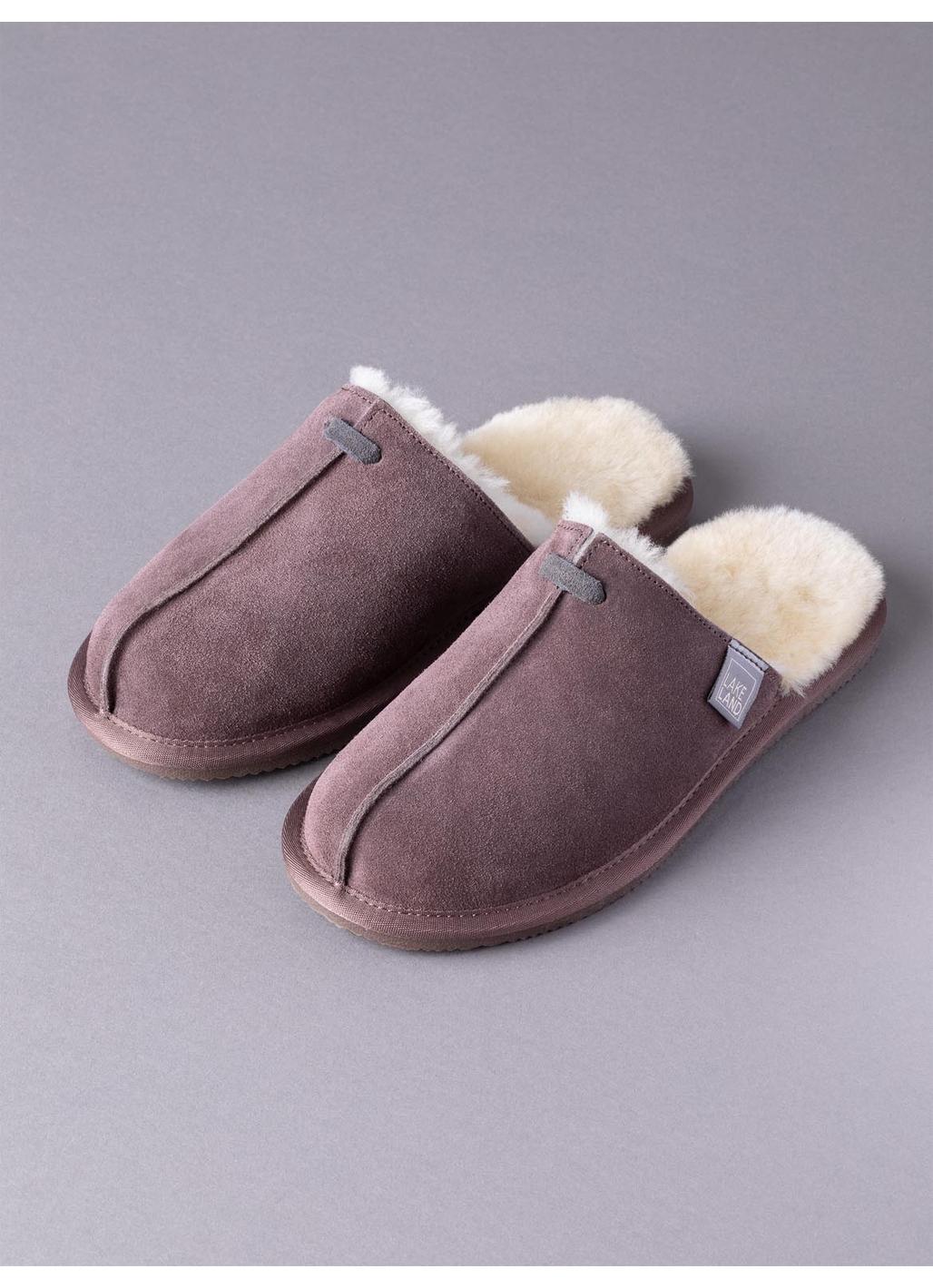 Ladies' Sheepskin Seam Sliders in Vole Brown