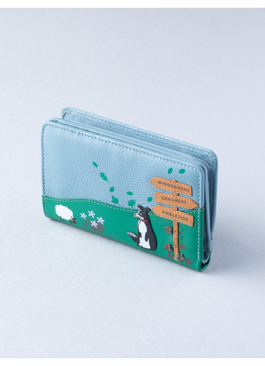 The Lakes Dog Walk Small Leather Zip Purse in Sky Blue