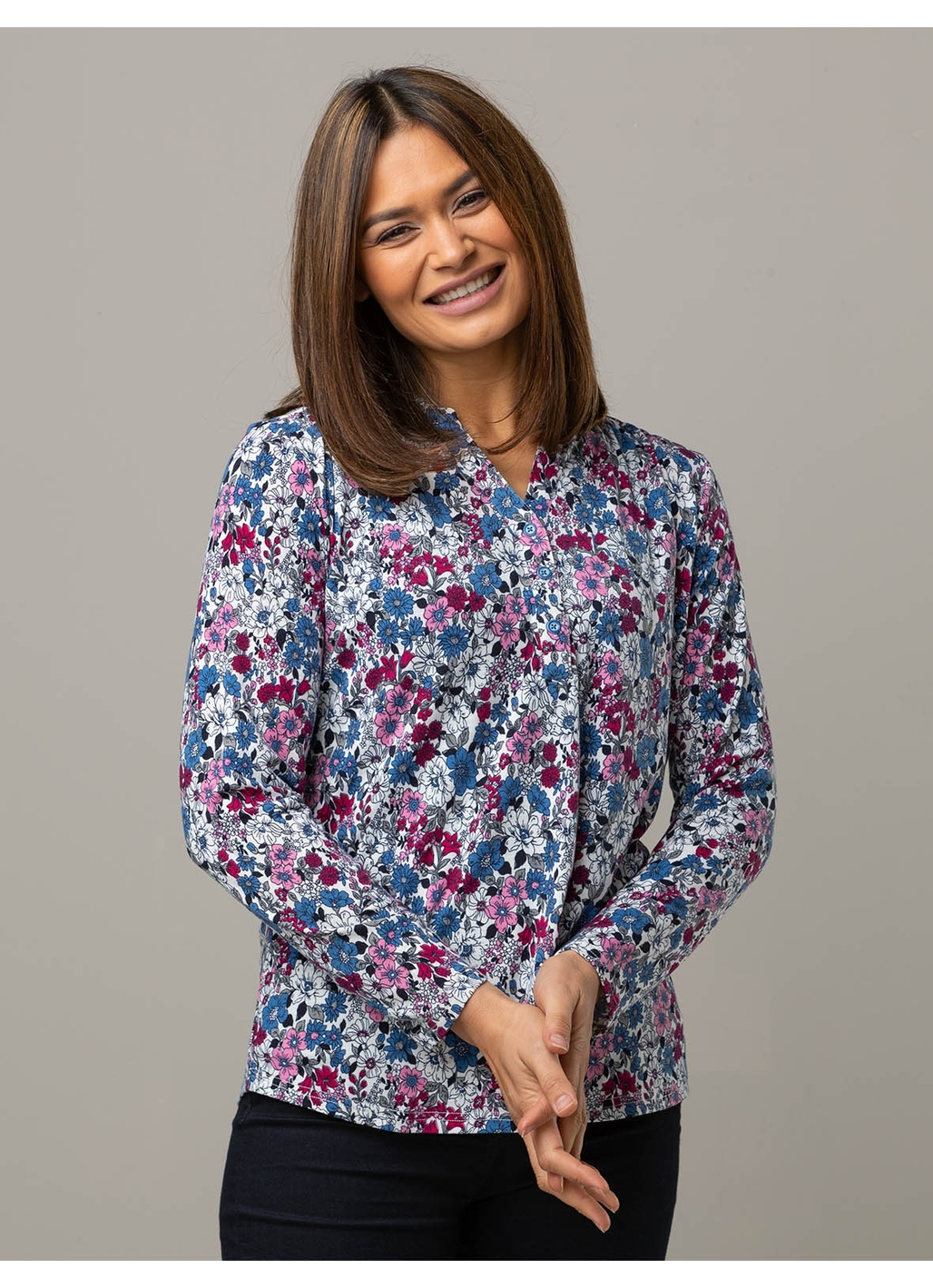 Celia Long Sleeve Floral Top in Denim Blue