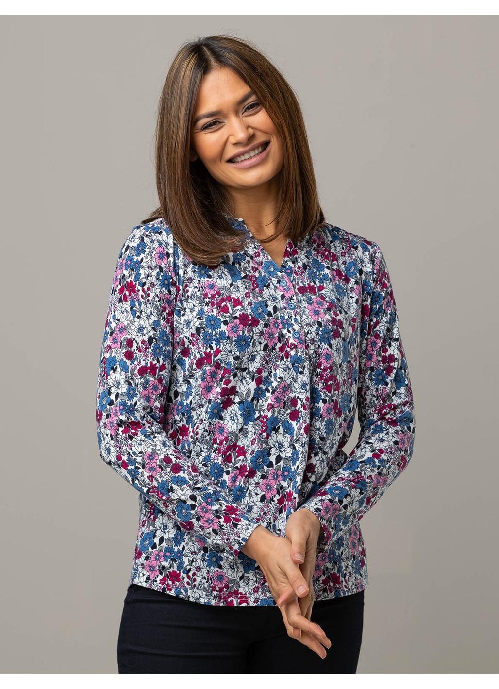 Celia Long Sleeve Floral Top in Denim Blue