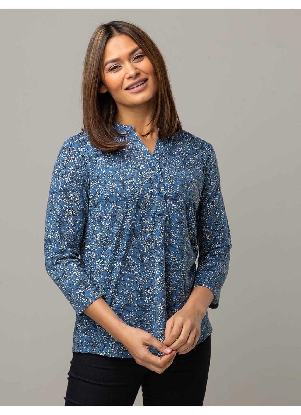 Celia Long Sleeve Floral Top in Blue