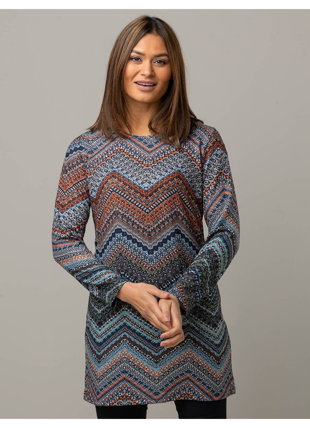 Marla Tunic Dress in Multi Chevron Print